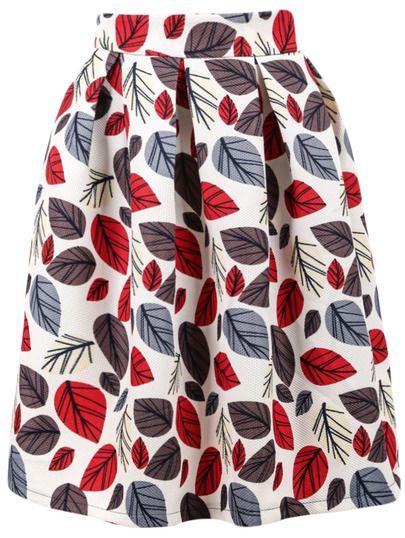 Falda midi con vuelo estampada otoñal