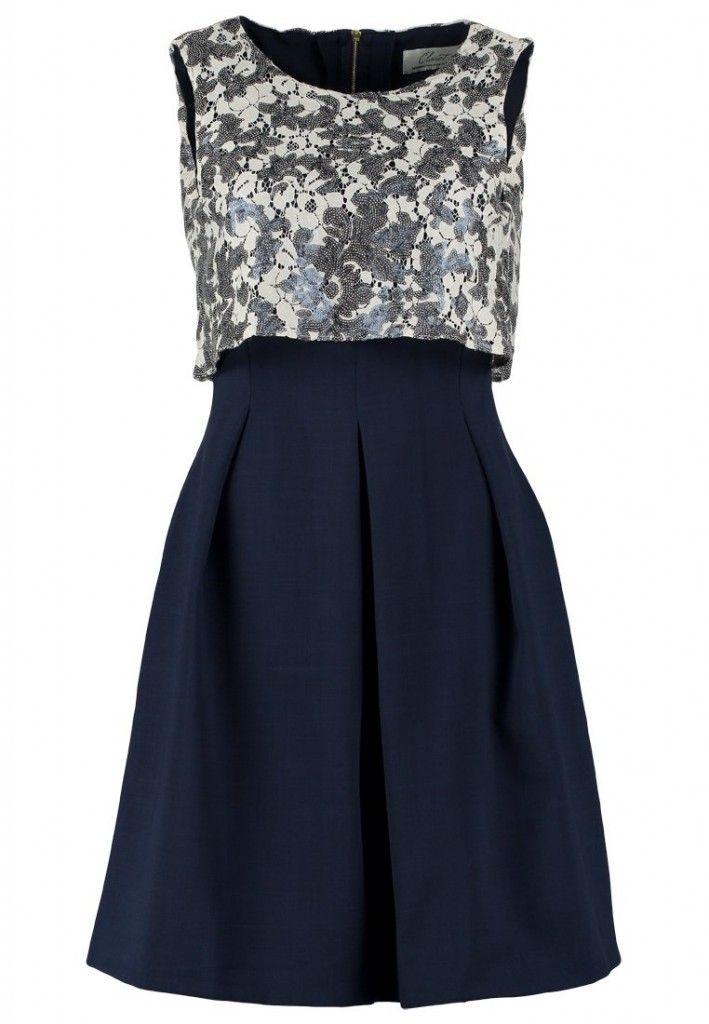 Vestido azul efecto falda