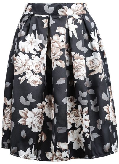 Falda midi de flores