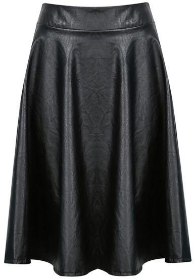 Falda midi de vinilo