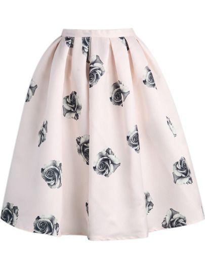 Faldas midi con vuelo estampadas con flores