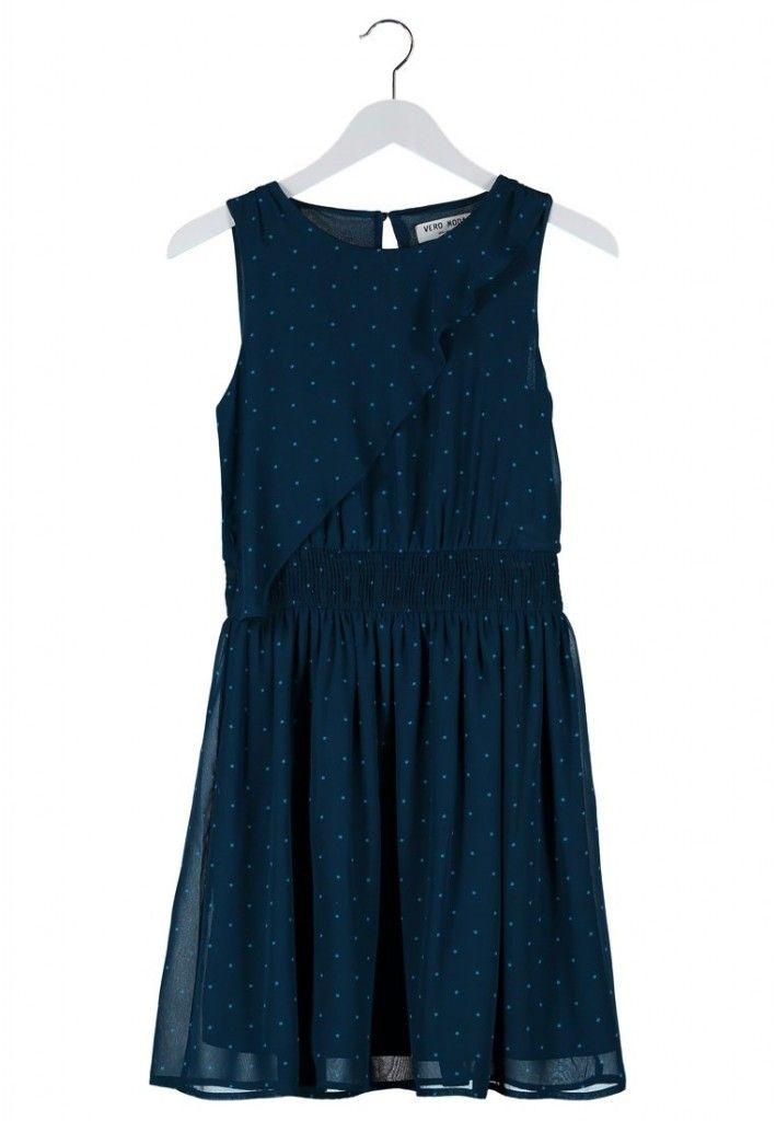 Vestido azul con lunares