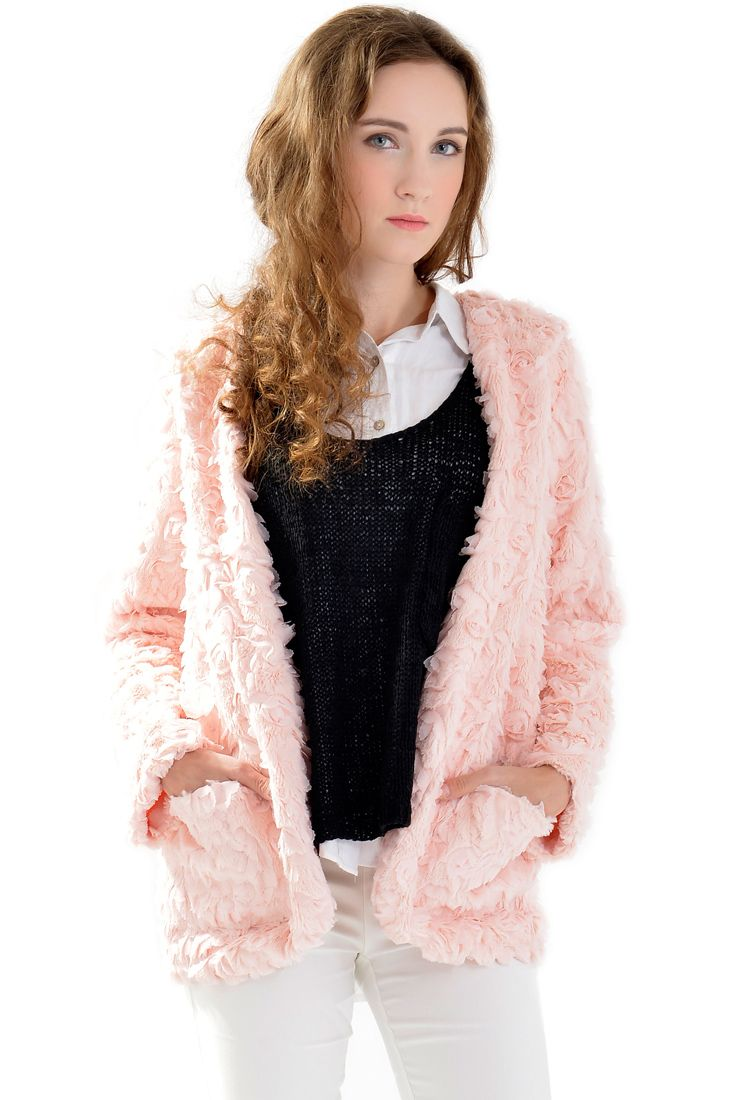 Abrigo rosa de pelo