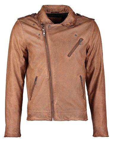 Chaqueta de cuero sintético marrón