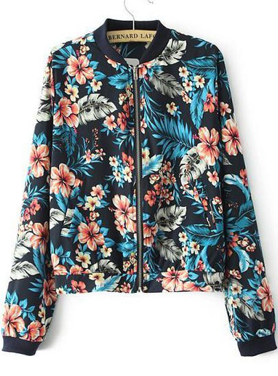Chaqueta bomber con estampado tropical