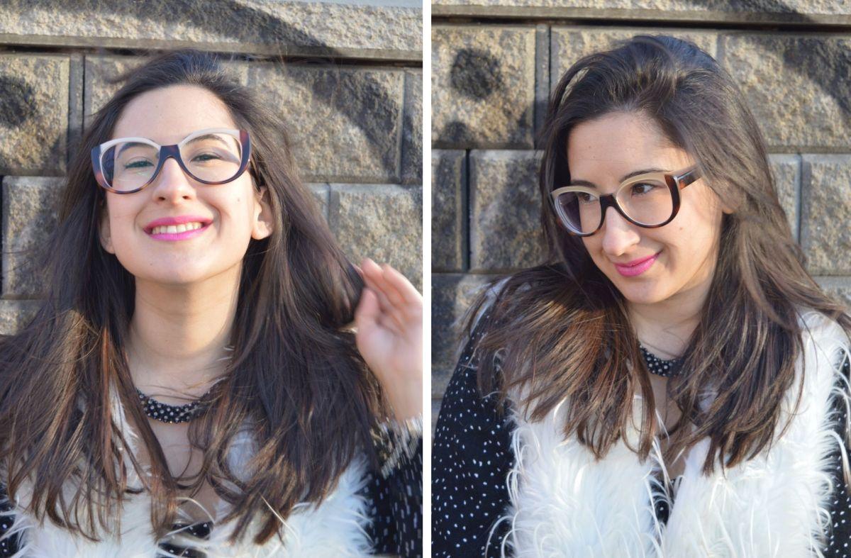 Look con gafas de pasta de estilo vintage