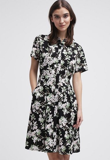 Vestido camisero de flores