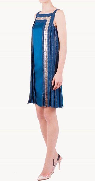 Vestido azul pliegues en alquiler