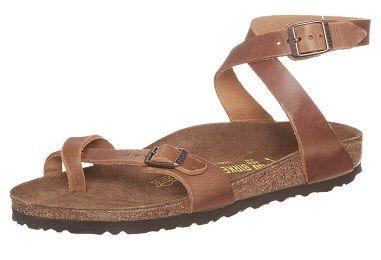 Sandalias de cuero atadas al tobillo