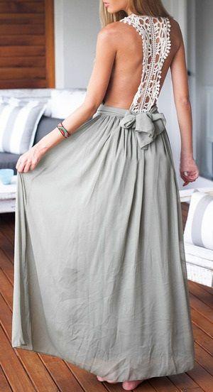 Vestido largo espalda de croché