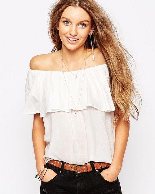 Blusa con escote Bardot