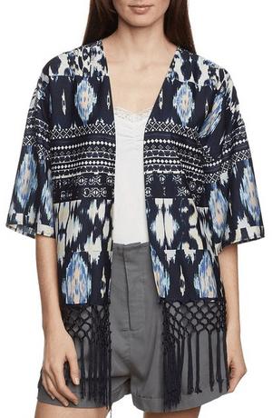 Kimono con flecos estampado étnico