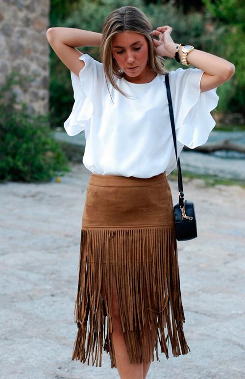 aaaadb4de falda de ante con flecos - Tu Moda Online