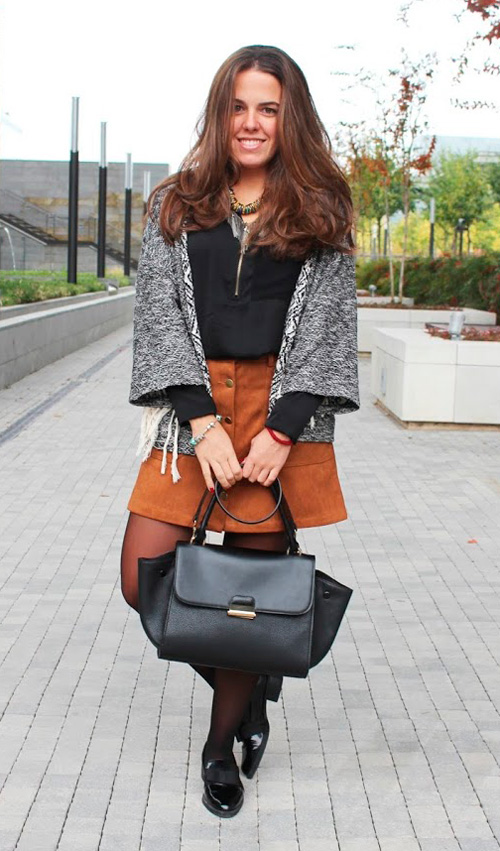 falda de ante en otoño