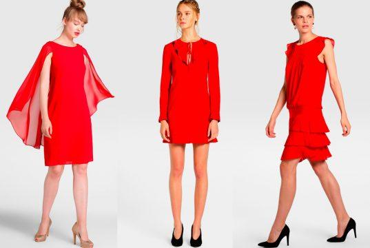 vestido coctel rojo