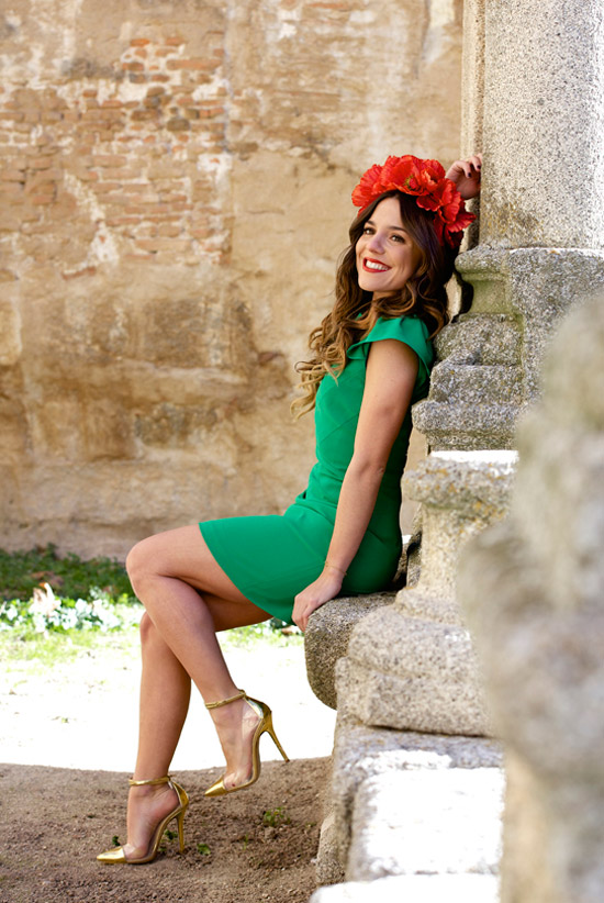 vestido verde encaje
