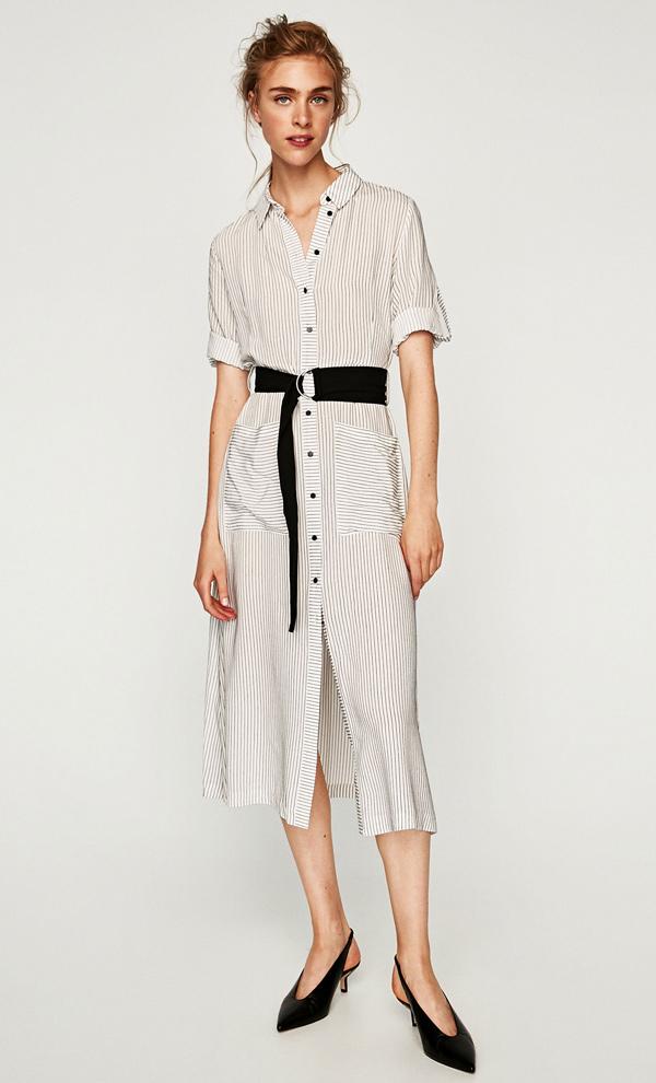 Como combinar un vestido rayado negro con blanco