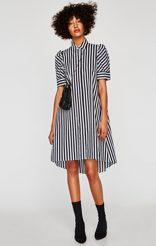 vestido de rayas negro y blanco zara