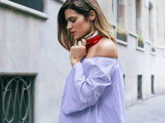 camisa blanca con rayas azules