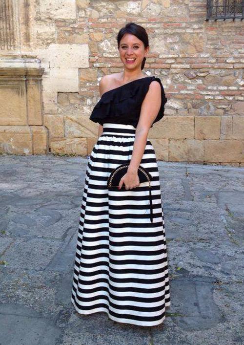 falda rayas negras y blancas