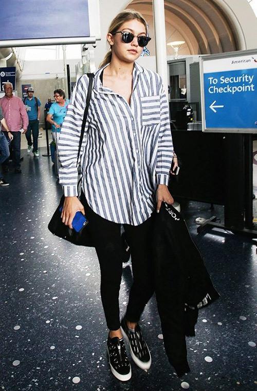 look camisa rayas azules