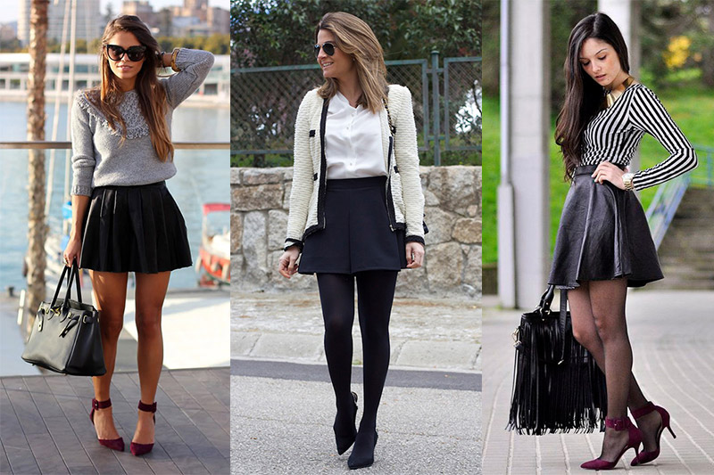 cdcc0c8050 Cómo combinar una falda skater negra en tu día a día ...