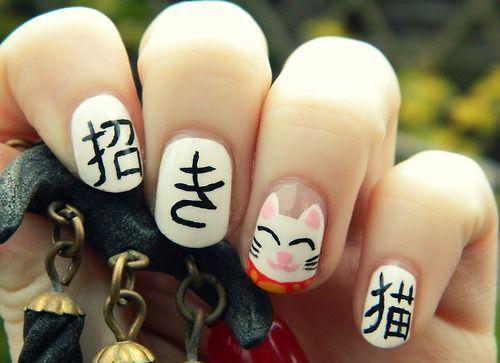 diseños de uñas con gatos