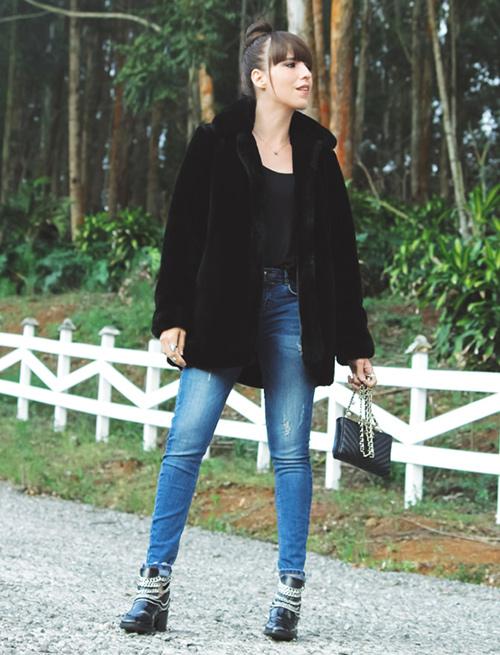 chaqueta pelo negra