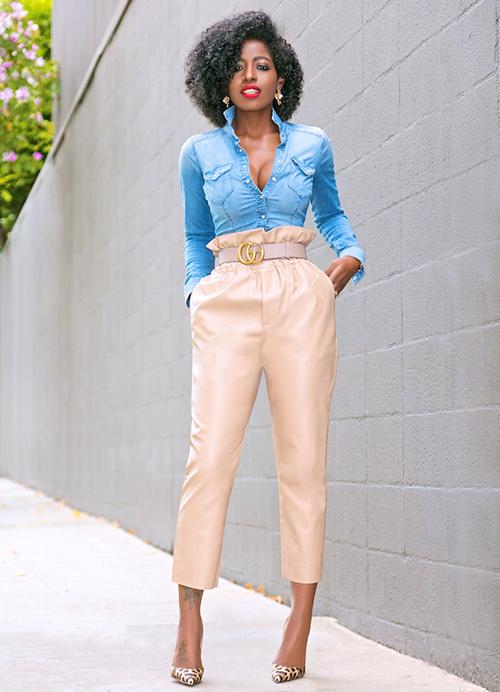 looks pantalones de cuero para mujer