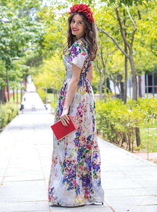 vestido largo fiesta flores