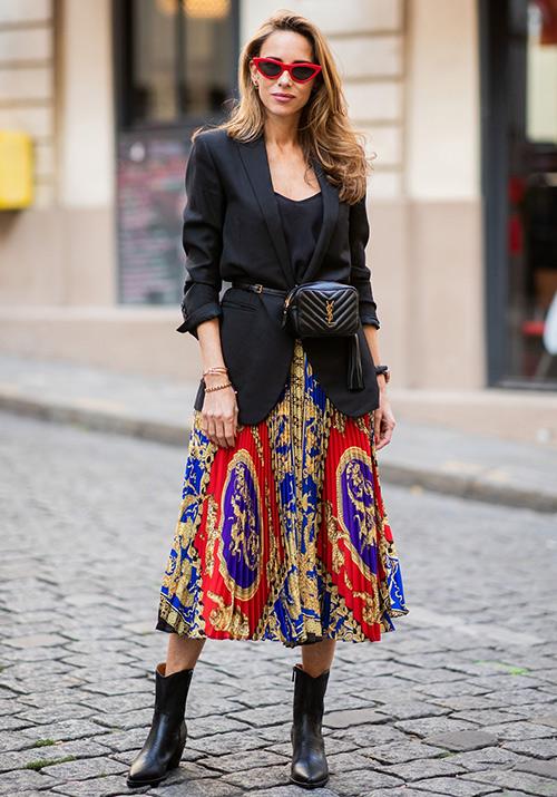 blazer larga con vestido