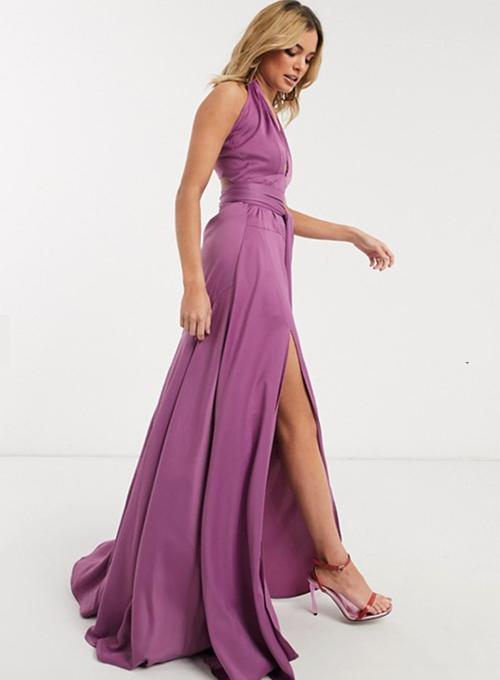 pendientes vestido morado