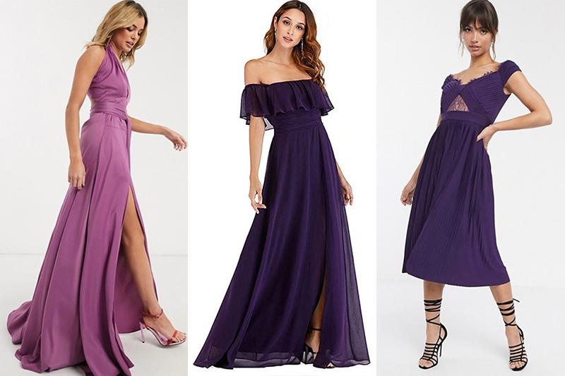 vestidos morados de fiesta