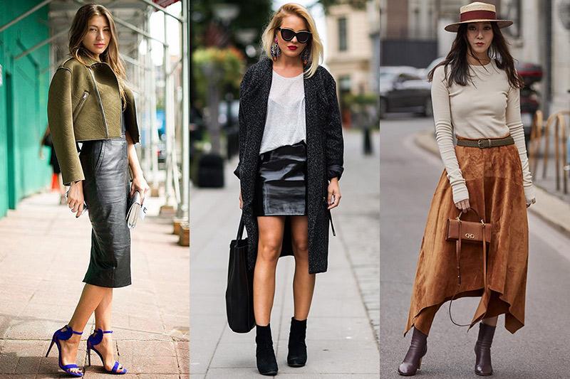 outfit falda cuero