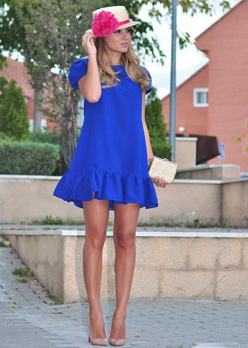 vestido azul electrico complementos