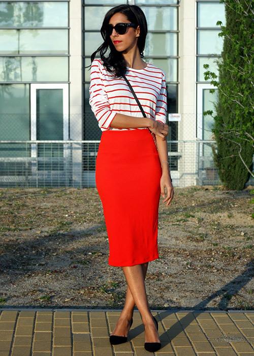 falda tubo con blazer