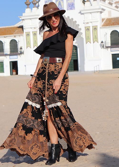 outfit falda larga verano