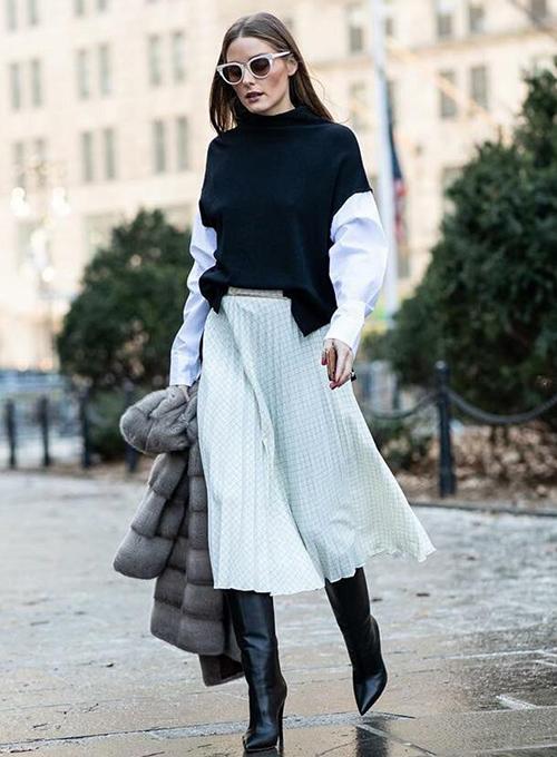 faldas con botas largas