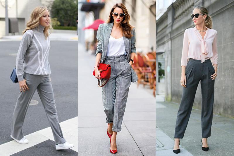 cómo combinar pantalón gris