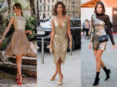 cómo combinar un vestido dorado