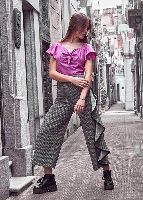 outfit jersey gris mujer