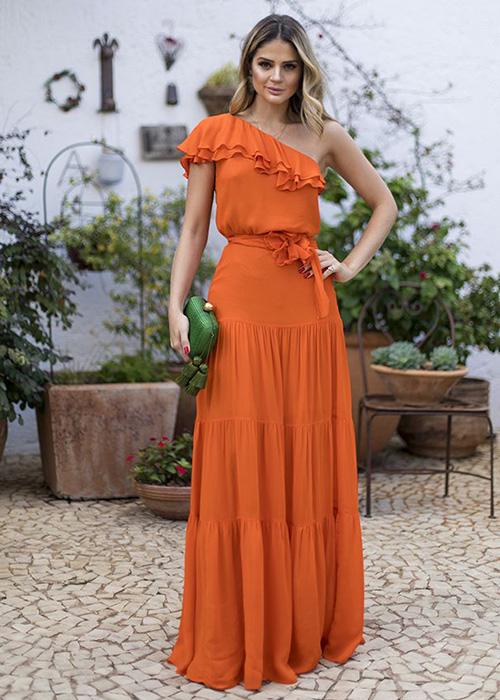 vestido de boda naranja oscuro