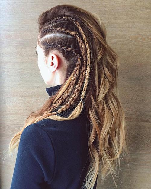 peinados con trenzas y pelo suelto
